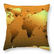 World Map In Gold Throw Pillow