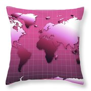 World Map In Pink Throw Pillow
