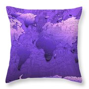 World Map In Purple Throw Pillow