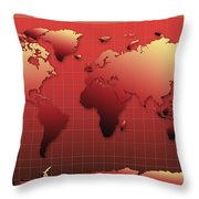 World Map In Red Throw Pillow