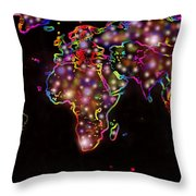 World Map In The Future Throw Pillow by Augusta Stylianou