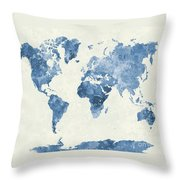 World Map In Watercolor Blue Throw Pillow