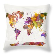 World Map In Watercolor  Throw Pillow