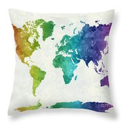 World Map In Watercolor Rainbow Throw Pillow