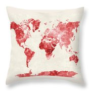 World Map In Watercolor Red Throw Pillow