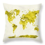 World Map In Watercolor Yellow Throw Pillow