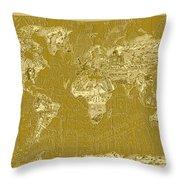 World Map Landmark Collage 10 Throw Pillow