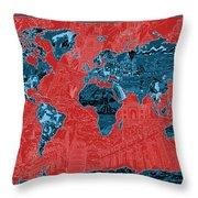 World Map Landmark Collage 11 Throw Pillow
