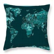 World Map Landmark Collage 4 Throw Pillow