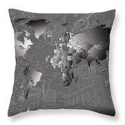 World Map Landmark Collage 6 Throw Pillow
