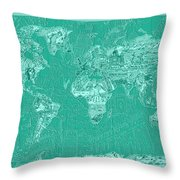 World Map Landmark Collage Green Throw Pillow