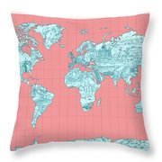 World Map Landmark Collage Throw Pillow