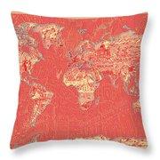 World Map Landmark Collage Red Throw Pillow