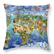 World Map Of World Wonders Throw Pillow