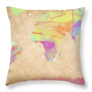 World Map Pastel Watercolors Throw Pillow