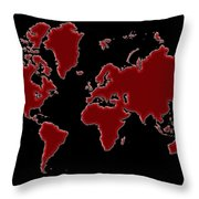 World Map Red Grid Throw Pillow