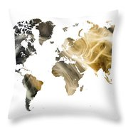 World Map Sandy World Throw Pillow