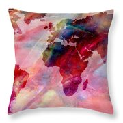 World Map Splash Of Color Throw Pillow