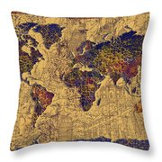 World Map Vintage Throw Pillow