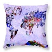 World Map Watercolor 2 Throw Pillow
