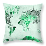 World Map Watercolor 4 Throw Pillow