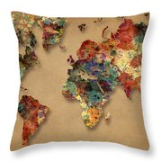 World Map Watercolor Painting 1 Throw Pillow