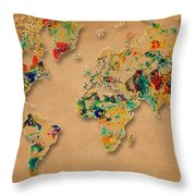World Map Watercolor Painting 2 Throw Pillow