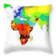 World Map Wathercolor Throw Pillow