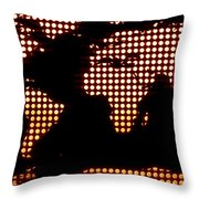 World Map Yellow Dots Throw Pillow