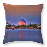 World Showcase Lagoon Sunset Throw Pillow