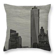 World Trade Center Construction Throw Pillow