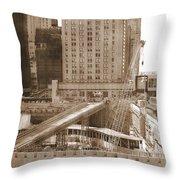 World Trade Center Reconstruction Vintage Throw Pillow