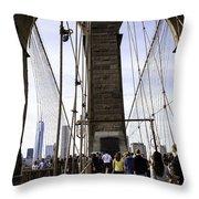 World Trade Center Through The Bridge Throw Pillow
