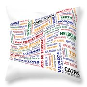World Travel Wave. Throw Pillow