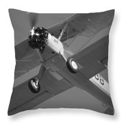 Stearman Trainer Bi Plane Black And White Throw Pillow