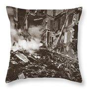 World War I Paris Bombed Throw Pillow