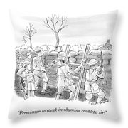 World War I Soldiers Fire From Behind Trenches Throw Pillow