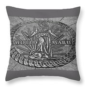 World War II Medallion Bw Throw Pillow