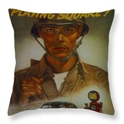 World War II Military Poster Are You Playing Square Throw Pillow