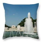 World War II Monument With Lincoln Monument Throw Pillow