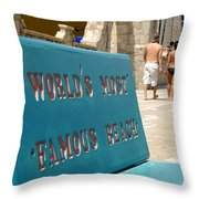 Worlds Most Famous Beach Bench Throw Pillow