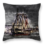 World's Oldest Commissioned Warship Afloat - Uss Constitution Throw Pillow by Ludmila Nayvelt