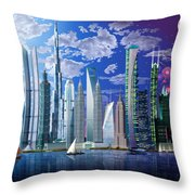 Worlds Tallest Buildings Throw Pillow by Garry Walton