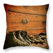 Worn Family Shoes Linded Up Throw Pillow