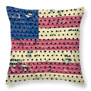 Worn Out American Flag Throw Pillow