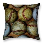 Worn Out Baseballs Throw Pillow