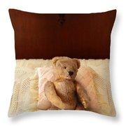 Worn Teddy Bear On Bed Throw Pillow