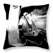 Worn Western Leather Boot With Spur In Stirrup Conte Crayon Black And White Digital Art Throw Pillow by Shawn O'Brien