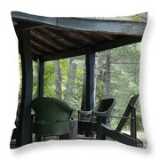 Worn Wicker Chairs On Old Veranda Throw Pillow