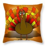 Worried Turkey Illustration Throw Pillow